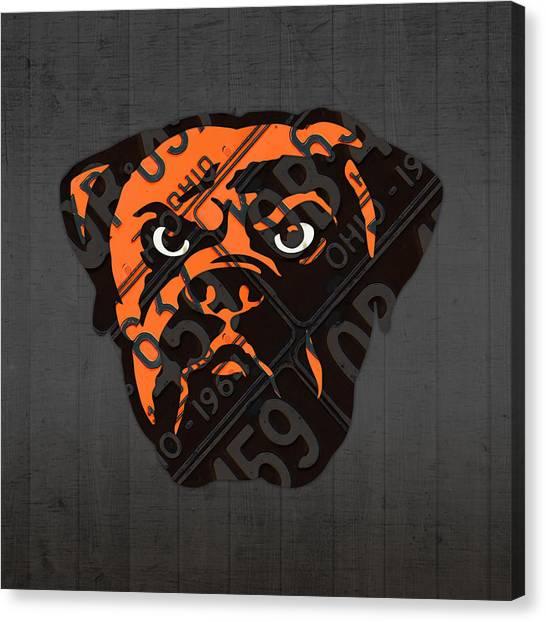 Cleveland Browns Canvas Print - Cleveland Browns Football Team Retro Logo Ohio License Plate Art by Design Turnpike