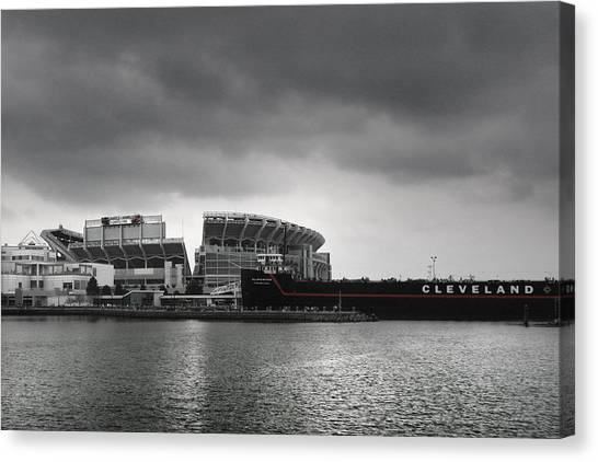 Football Teams Canvas Print - Cleveland Browns Stadium From The Inner Harbor by Kenneth Krolikowski