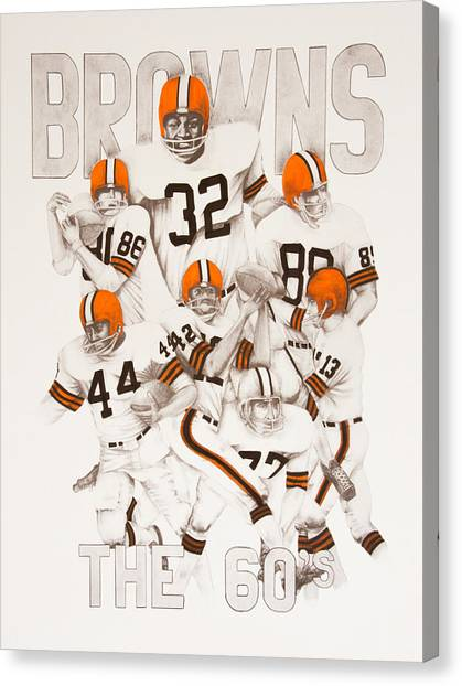 Paul Ryan Canvas Print - Cleveland Browns - The 60's by Joe Lisowski