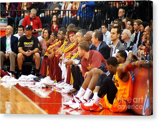 Kyrie Irving Canvas Print - Cleveland Cavaliers Bench by Brian Druggan