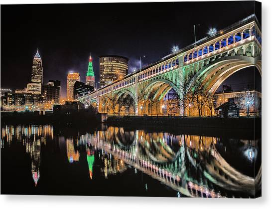 Cleveland Christmas Bridge Canvas Print