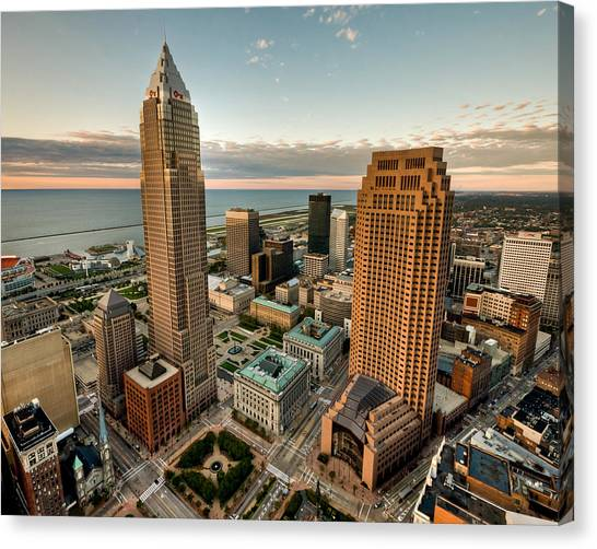 Cleveland From A Birds Eye View Canvas Print