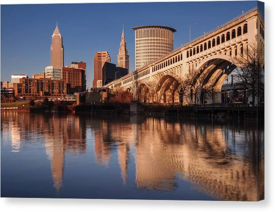 Cleveland From The River Golden Hour Canvas Print