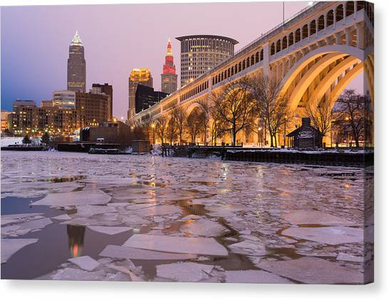 Cleveland Ice Chips Skyline Canvas Print