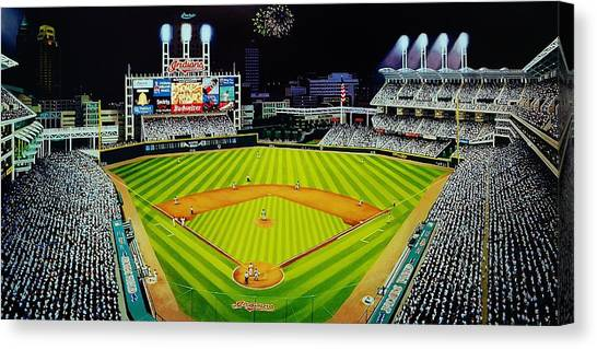 Cleveland Indians Canvas Print - Cleveland Jackobs Nocturn Fireworks by Thomas  Kolendra