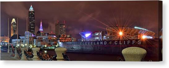 Cleveland State University Canvas Print - Cleveland Lakefront Night Panorama by Frozen in Time Fine Art Photography