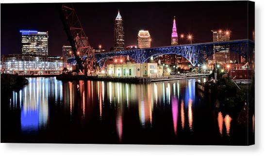 Cleveland State University Canvas Print - Cleveland Panoramic Reflection by Frozen in Time Fine Art Photography