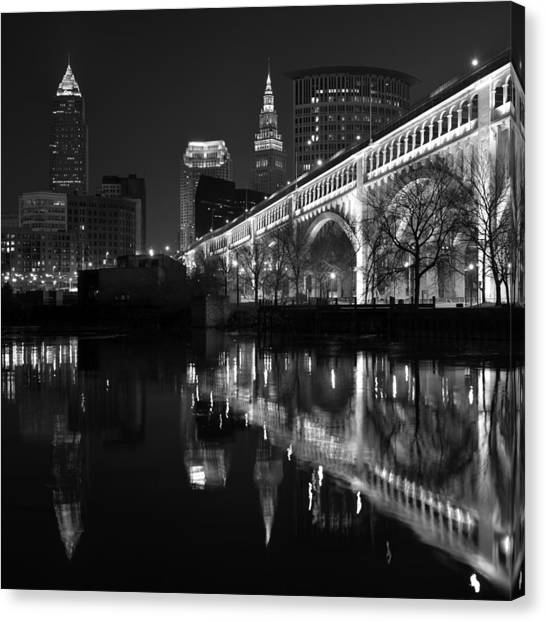 Cleveland Reflections In Black And White Canvas Print