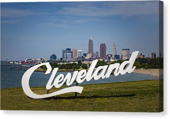 Cleveland Sign And Skyline Canvas Print by Photo by Mike Kline (notkalvin)