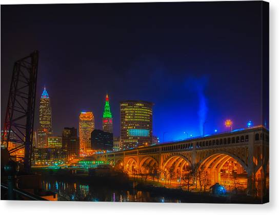 Cleveland Skyline At Christmas Canvas Print