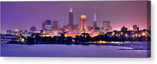 Cleveland Canvas Print - Cleveland Skyline At Night Evening Panorama by Jon Holiday