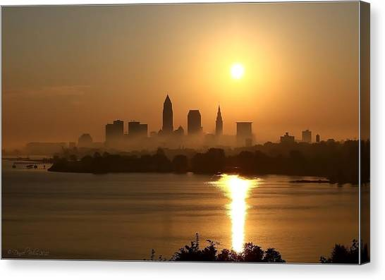 Cleveland Skyline At Sunrise Canvas Print