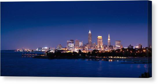 Cleveland Skyline Dusk Canvas Print