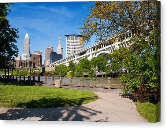 Cleveland Skyline From Riverbed Road Canvas Print