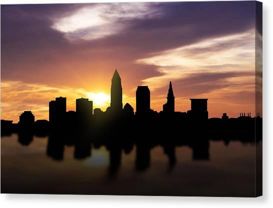 Metropolitan Canvas Print - Cleveland Sunset Skyline  by Aged Pixel