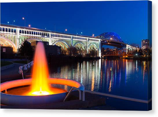 Cleveland Veterans Bridge Fountain Canvas Print