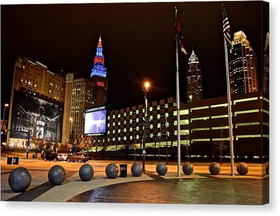 Kyrie Irving Canvas Print - Clevelands Big Three From The Q by Frozen in Time Fine Art Photography