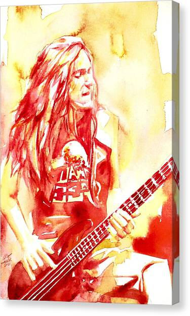 Burton Canvas Print - Cliff Burton Playing Bass Guitar Portrait.1 by Fabrizio Cassetta