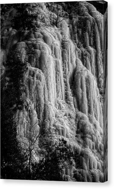 Cliff Ice In Black And White Canvas Print