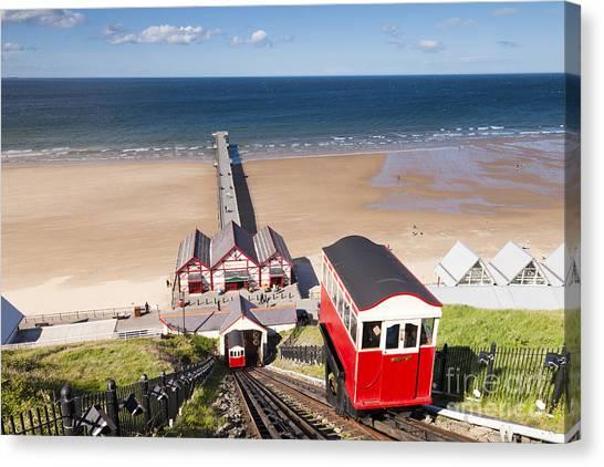 Beach Cliffs Canvas Print - Cliff Railway Saltburn By The Sea by Colin and Linda McKie