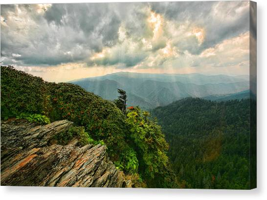 Cliff Tops At Mt. Leconte Gsmnp Canvas Print