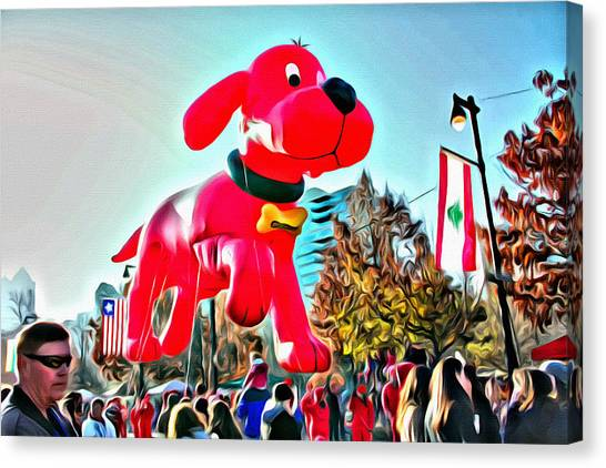 Macys Parade Canvas Print - Clifford Balloon In Philly by Alice Gipson