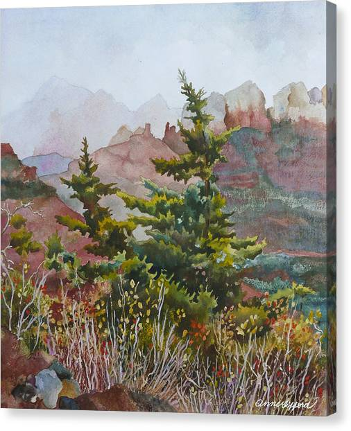 Pine Trees Canvas Print - Cliffs Near Sedona by Anne Gifford