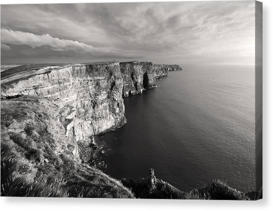 Cliffs Of Moher Ireland In Black And White Canvas Print