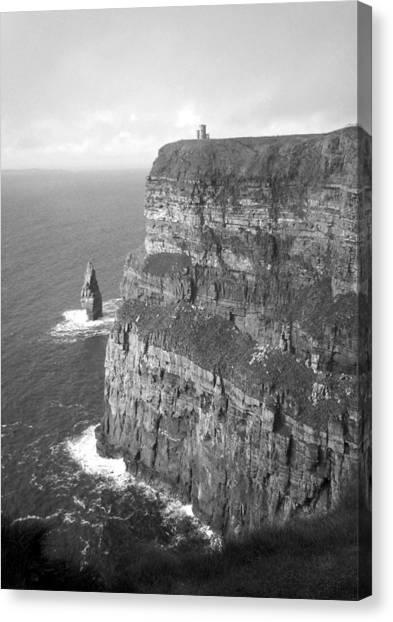 Cliffs Of Moher - O'brien's Tower B N W Canvas Print
