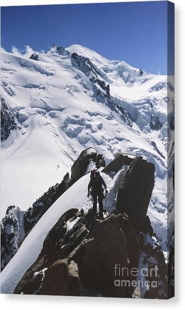 Climber On Mt Blanc In France Canvas Print by Soren Egeberg