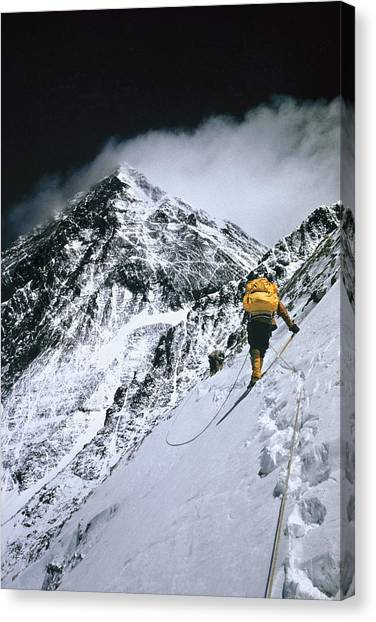 Mount Everest Canvas Print - Climbers, 25,000 Feet Up, Push by Barry Bishop