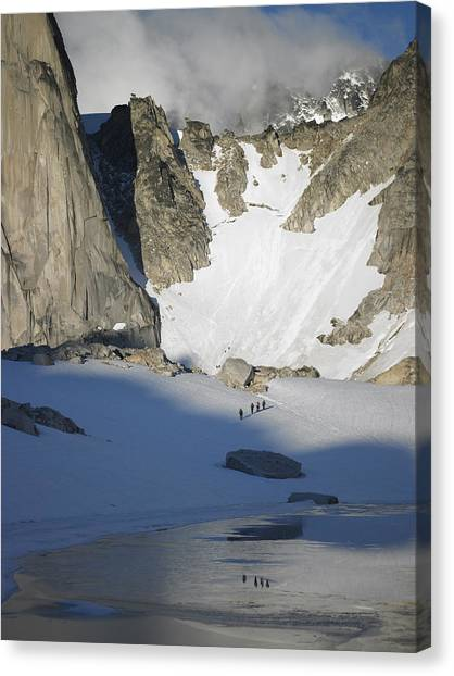 Climbers Enroute To The Bugaboo Snowpatch Col Canvas Print