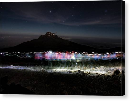 Mount Kilimanjaro Canvas Print - Climbers Trace Ghostly Shapes by Jake Norton