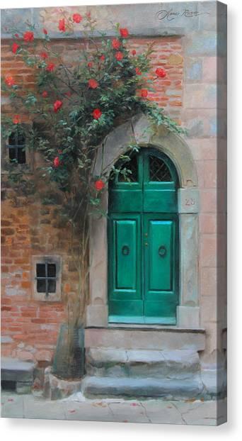 Italy Canvas Print - Climbing Roses Cortona Italy by Anna Rose Bain