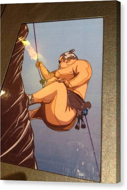 Climbing Sumo Canvas Print by Ben Ong