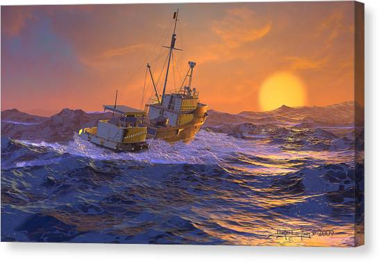 Climbing The Sea Canvas Print