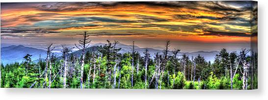 Clingmans Sunset Panoramic Canvas Print