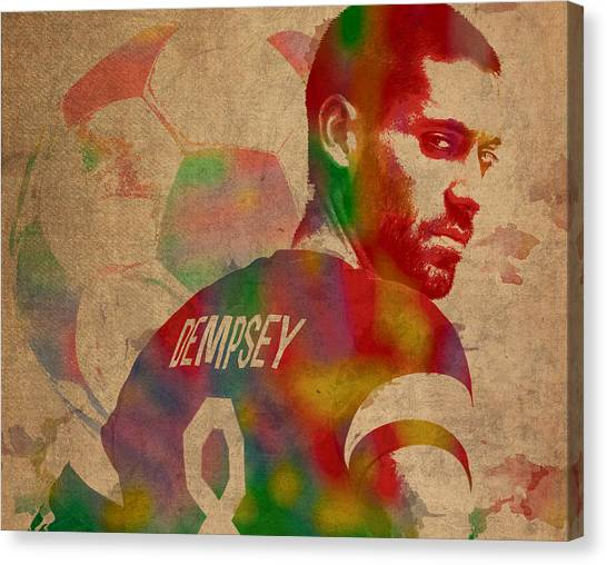 Clint Dempsey Canvas Print - Clint Dempsey Soccer Player Usa Football Seattle Sounders Watercolor Portrait On Worn Canvas by Design Turnpike
