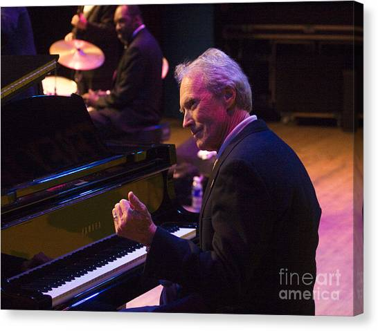 Clint Eastwood On Piano In Monterey Canvas Print