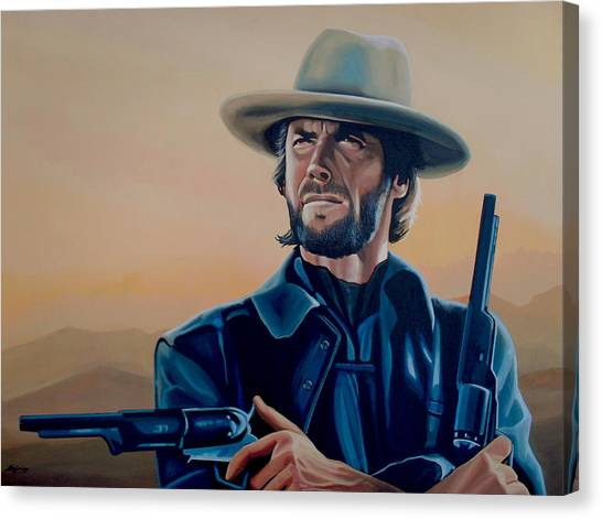 Spaghetti Canvas Print - Clint Eastwood Painting by Paul Meijering