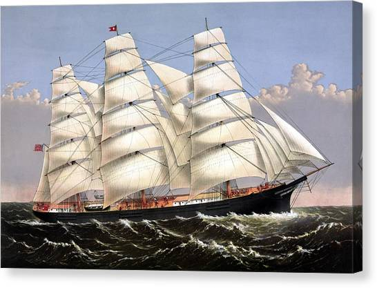 Sailing Canvas Print - Clipper Ship Three Brothers by War Is Hell Store