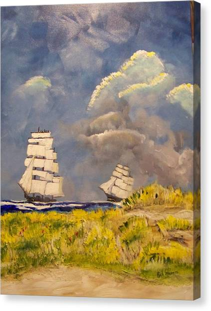 Clipper Ships Safely Round Cape Horn Canvas Print by Rich Mason