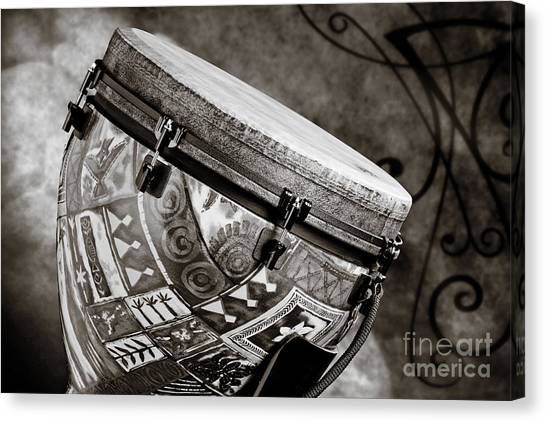 Djembe Canvas Print - Clissic Djembe African Drum Photograph In Sepia 3334.01 by M K  Miller