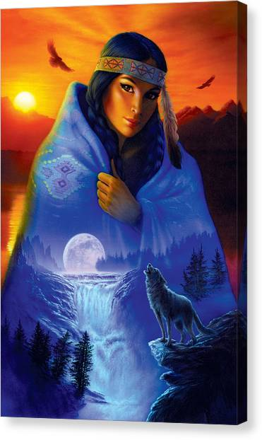 Wolf Moon Canvas Print - Cloak Of Visions Portrait by Andrew Farley