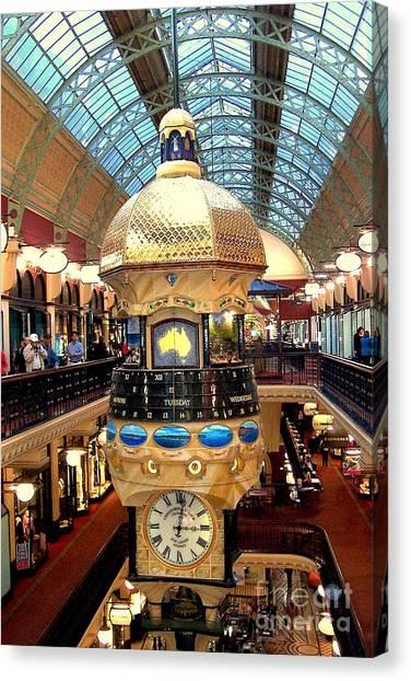 Clock In Sydney Mall Canvas Print by John Potts