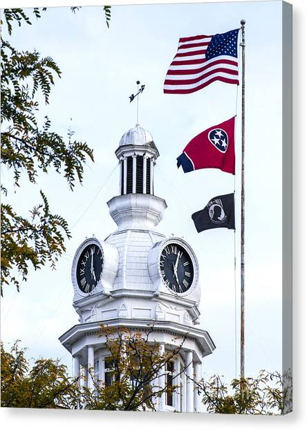 Clock Tower With Tennessee Mia Us Flag Art Canvas Print
