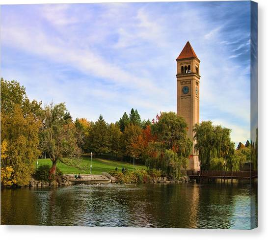 Clocktower And Autumn Colors Canvas Print