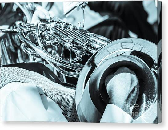 Close Of Male Playing French Horn And Hand Muting Canvas Print