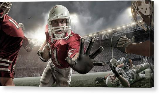 Close Up American Football Action Canvas Print by Peepo