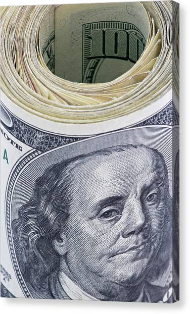 Close-up Of A Roll Of Us $100 Bills Canvas Print by Jaynes Gallery